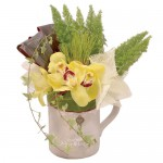 Yellow Orchid Cup Eclectic Arrangements from Clea Flower Boutique